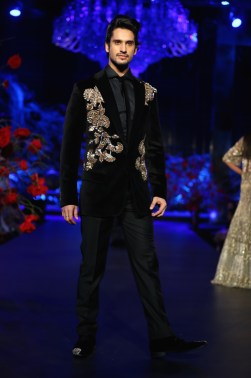 Men's wear black velvet jacket with gold embroidered motifs - Manish Malhotra Amazon India Couture Week 2015