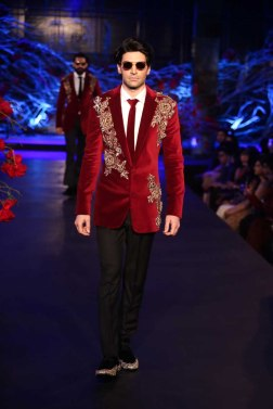 Men's Wear - Red Velvet Blazer with Gold Embroidery & Handcrafted Shoes - Manish Malhotra - Amazon India Couture Week 2015