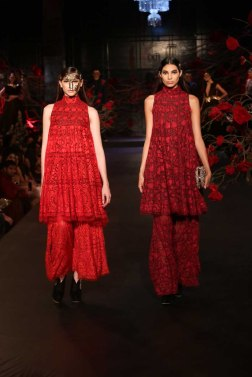 Red and Deep Red Embroidered Kurtas with Pants - Manish Malhotra - Amazon India Couture Week 2015