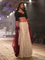Sand Colour Sequinned Lehenga Skirt with Black Basket Weaving Blouse - Monisha Jaising - Amazon India Couture Week 2015 .jpg