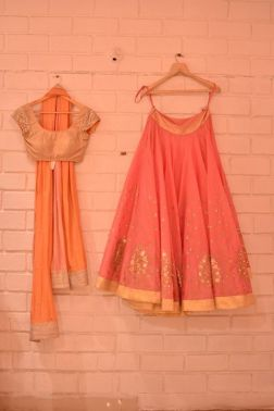 Coral pink light lehenga with gold blouse and orange dupatta - Abhinav Mishra