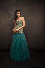 Deep Teal gown with Heavy Work on Corset - Shyamal and Bhumika New Collection 2015 - A Little Romance - Autummn-Winter Collection 2015