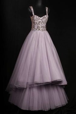 Lilac multi-layered gown in tulle with silver embroidery - Shyamal and Bhumika New Collection 2015 - A Little Romance - Autumn-Winter Collection 2015