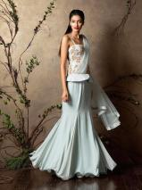Pale blue peplum style pre-draped sari gown - Shyamal and Bhumika New Collection 2015 - A Little Romance - Autummn-Winter Collection 2015
