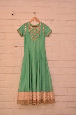 Teal green anarkali with silver work