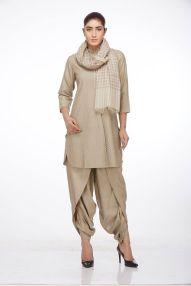 Ruh - Pale grey kurta with dupatta and dhoti pants - Meherchand market wedding shopping guide