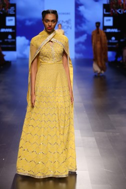 28 Candy yellow anarkali with gota patti embroidery | Anita Dongre Love Notes | Lakme Fashion Week 2016