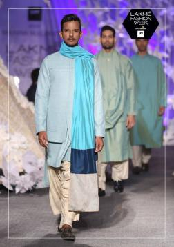 Men's Wear - Manish Malhotra - Ice blue sherwani with dupatta and dhoti - Lakme Fashion Week Summer-Resort 2016