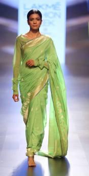 Sari - Swati and Sunaina - Green silk sari - Lakme Fashion Week Summer-Resort 2016