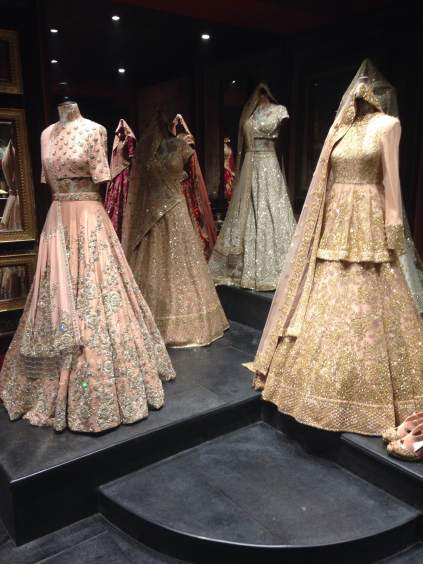 Inside the store - Pastel lehengas - Sabyasachi Spring Summer Weddings 2016 collection