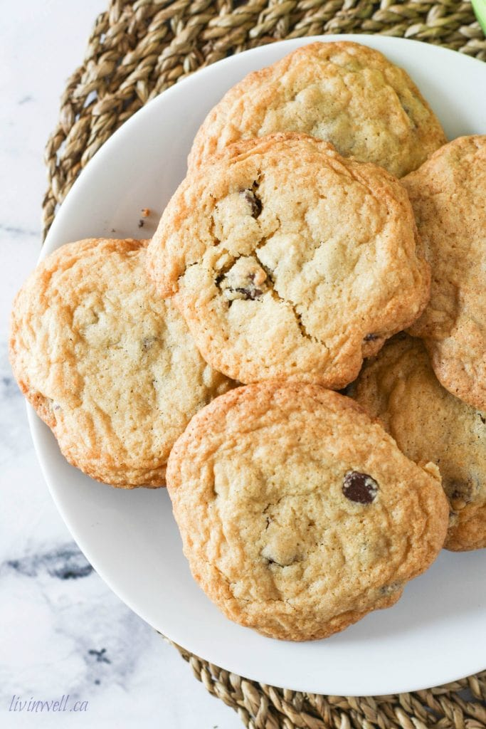 Large plate of Chcolate Chip Cookies
