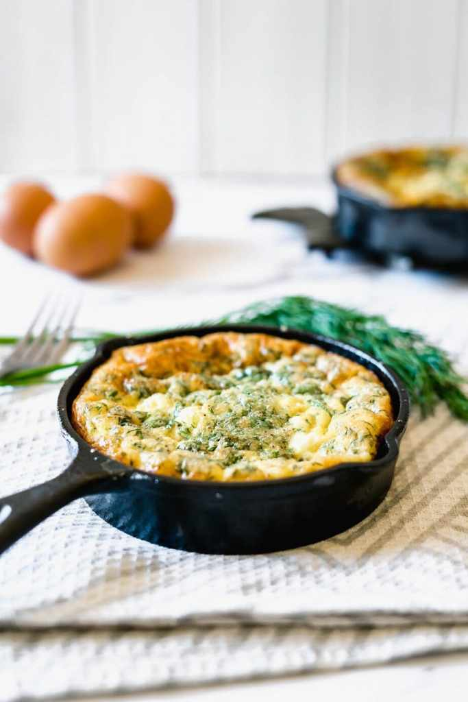 Baked Frittata Recipe made with feta, spinach and dill.