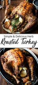 Pinterest pin of an oven roasted turkey stuffed with lemon and thyme