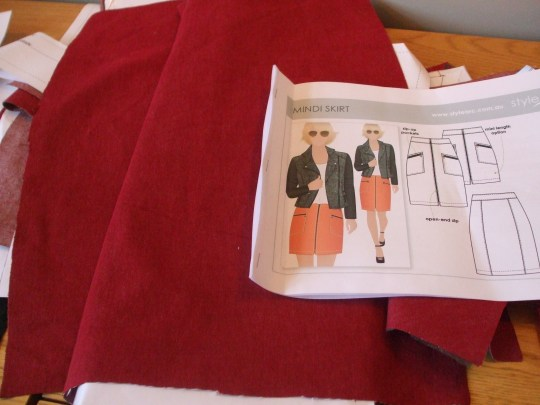 red stretch denim StyleArc Mindi skirt, to have Mickey Mouse binding finish on facings