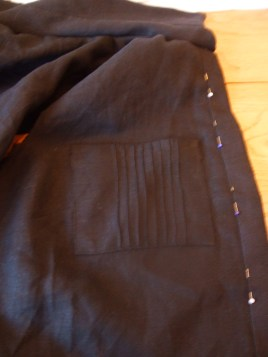 Pockets on, button band needs to be topstitched