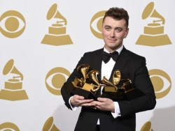 Sam Smith with his Grammys.
