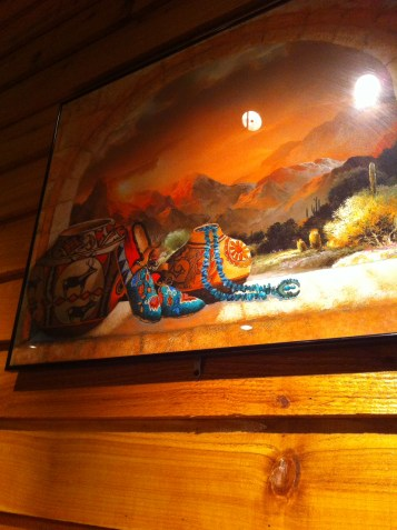 Paintings compliments the wood