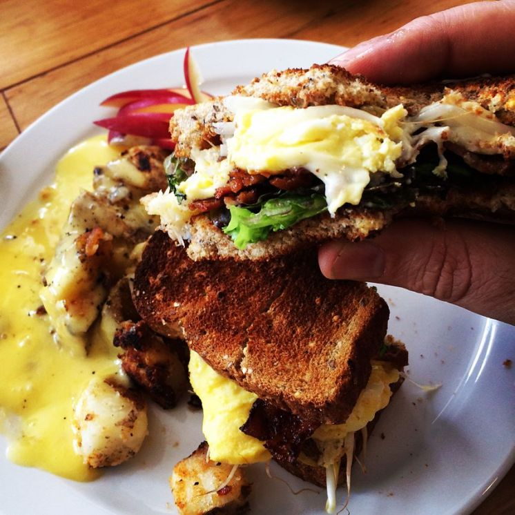 College   Breakfast Club with scrambled eggs, bacon, swiss & sprouts on toasted multigrain with mayo + home fries   12