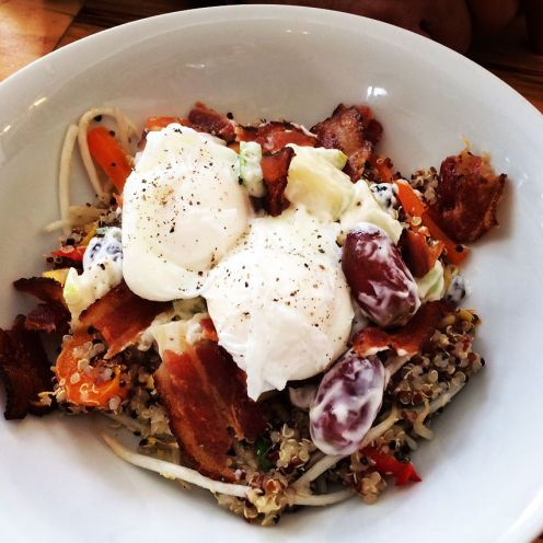 Havelock | Breakfast bowl with mango quinoa & waldorf salads, poached egg (GF) | 13 | add bacon bits +1.5