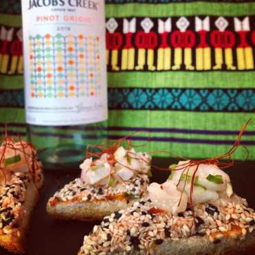 Jacob's Creek DOTS Pinot Grigio — Australia Shrimp and sesame toast topped with lychee relish.