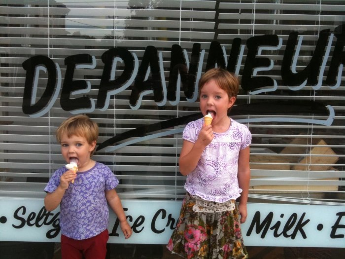 My nieces, Lucy & Grace, enjoying an ice cream out front