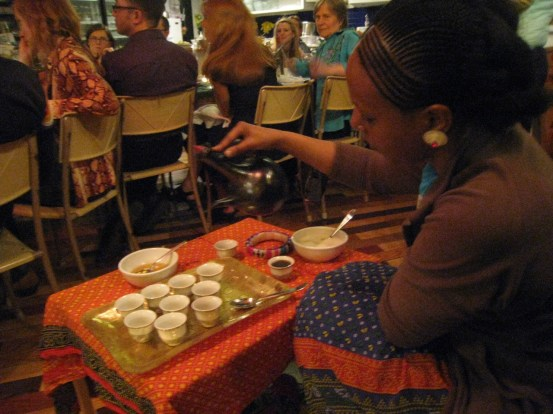 A traditional Ethiopian coffee ceremony