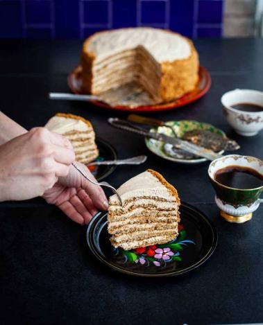 Doris Fin's Medovik, a Russian honey cake