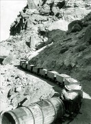 Ore train arriving at Ryan from the mines 1916 - Courtesy National Park Service, Death Valley National Park