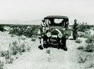 1912 Cadillac that Pacific Coast Borax stationed at the Lila C Mine, was later made into three gauge emergency car on the DVRR, Courtesy National Park Service, Death Valley National Park