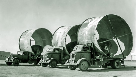 Moving equipment from Death Valley Junction to Boron during war 1944, Courtesy National Park Service, Death Valley National Park