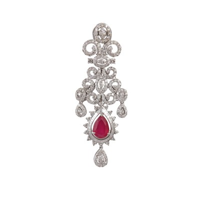 _MG_2083 (A pair of beautiful diamond earrings with red stones made in 14kt gold having 42.350gms weight @250000)
