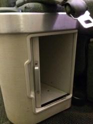 Storage under the seat with sliding door
