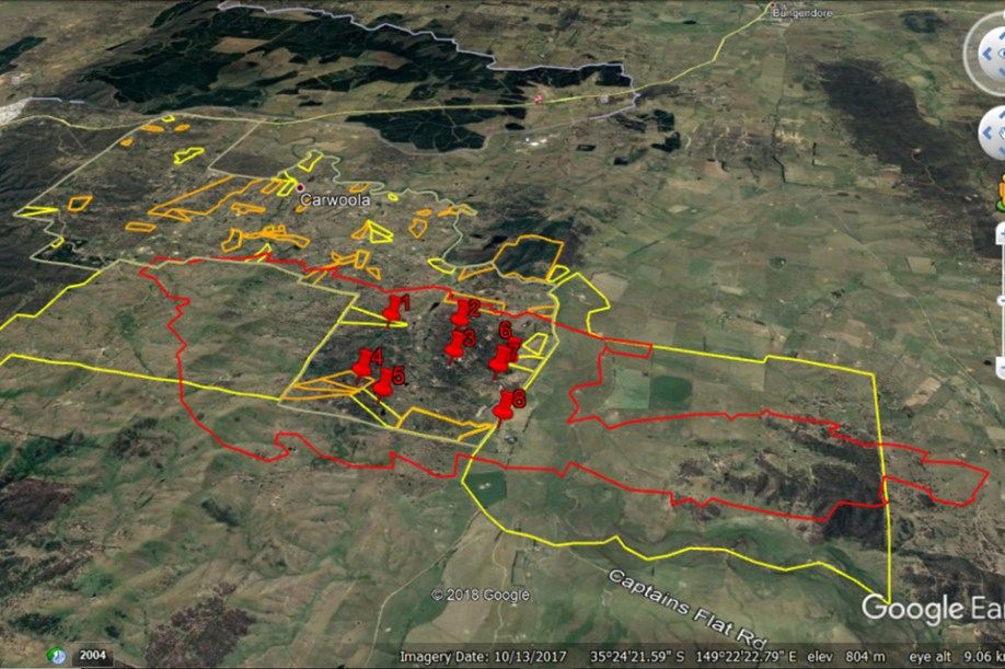 The yellow and orange outlines indicate the properties of people that took part in the Hotspots program – showing that it was mostly people whose properties were outside the fireground who contacted the local RFS brigade for personal bushfire protection advice, or participated in the Hotspots workshops. This is consistent with respondents to the online survey of Hotspots workshop participants indicated that they had been emotionally, rather than physically, impacted by the fire.