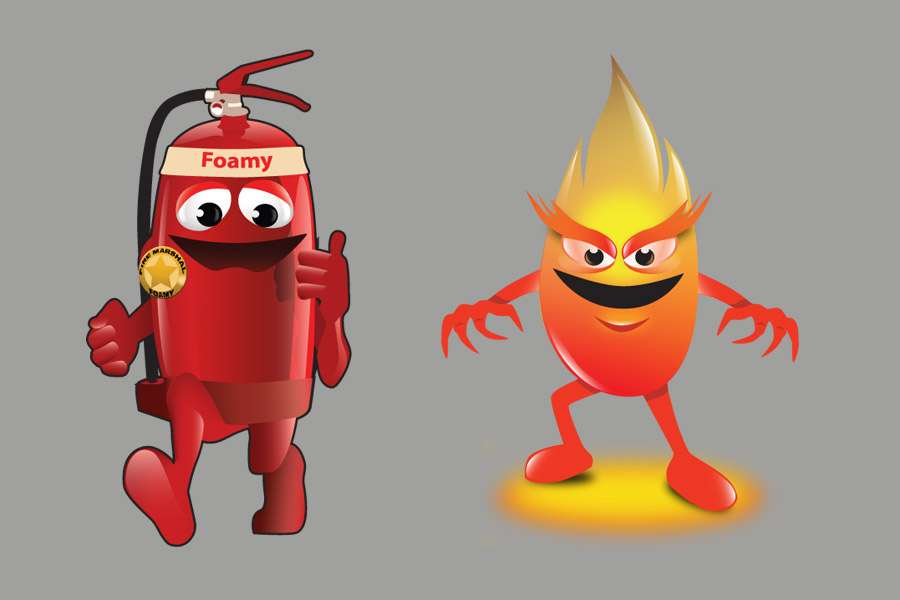 Character Illustrations for Fire Marshall Foamy and Flamey