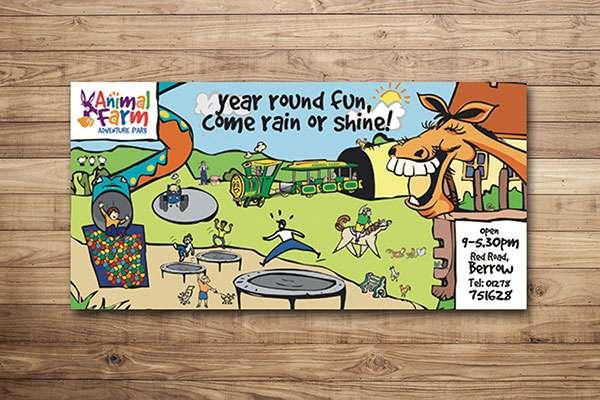 Illustrated banner design for adventure park in Berrow, Somerset
