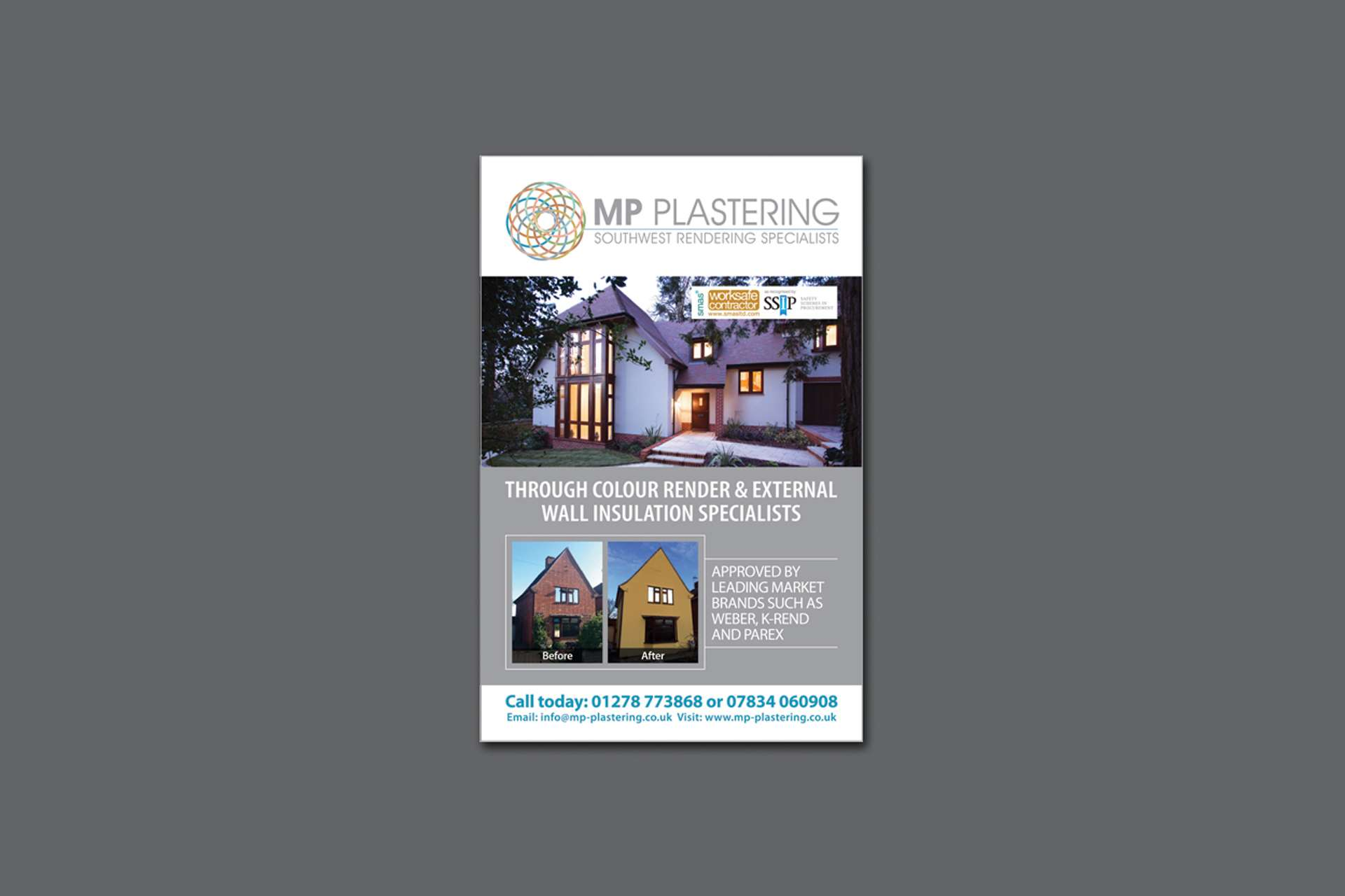Advert design for MP Plastering in Highbridge, Somerset