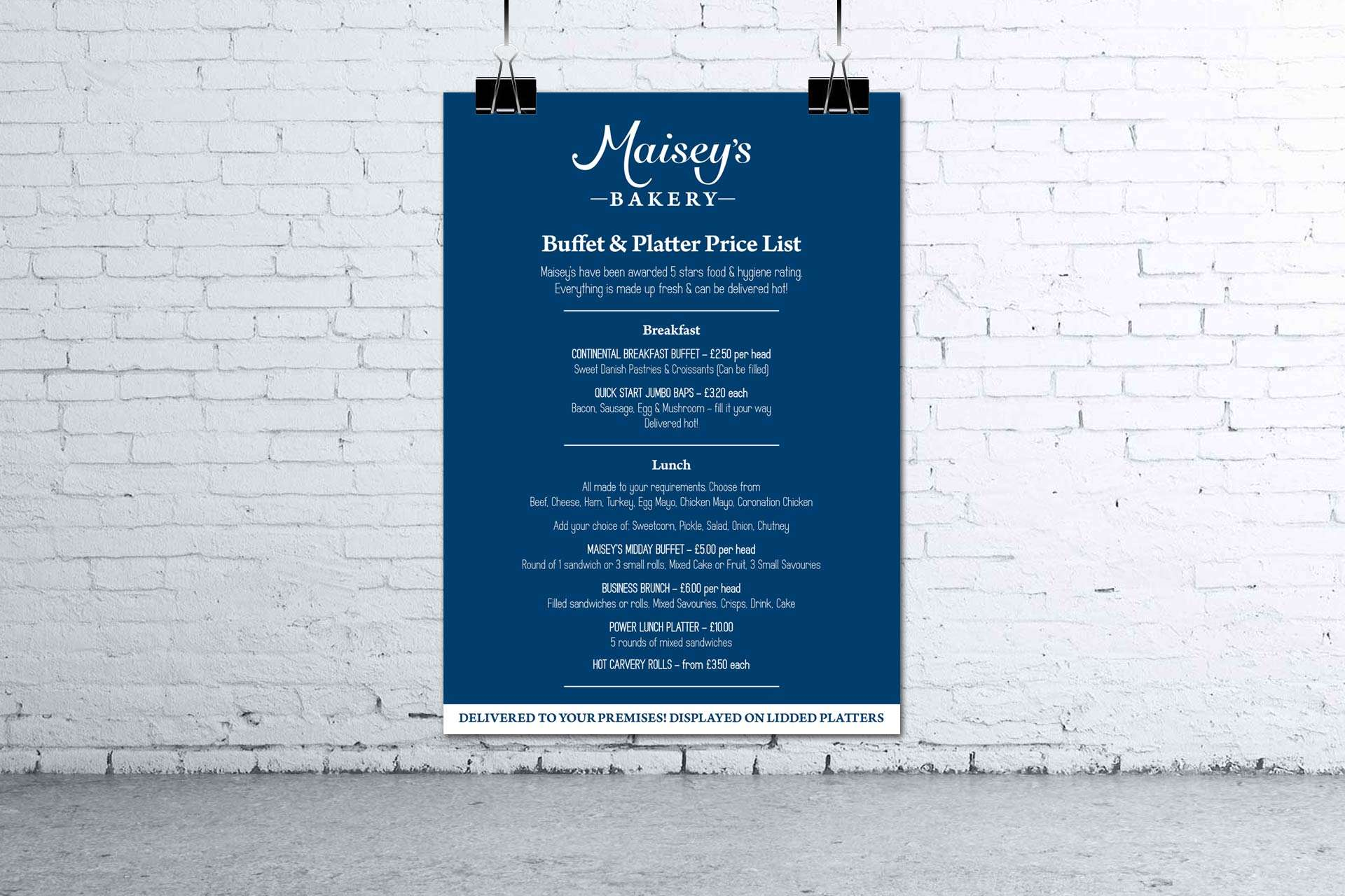 Maisey's Bakery price list design, Highbridge, Somerset