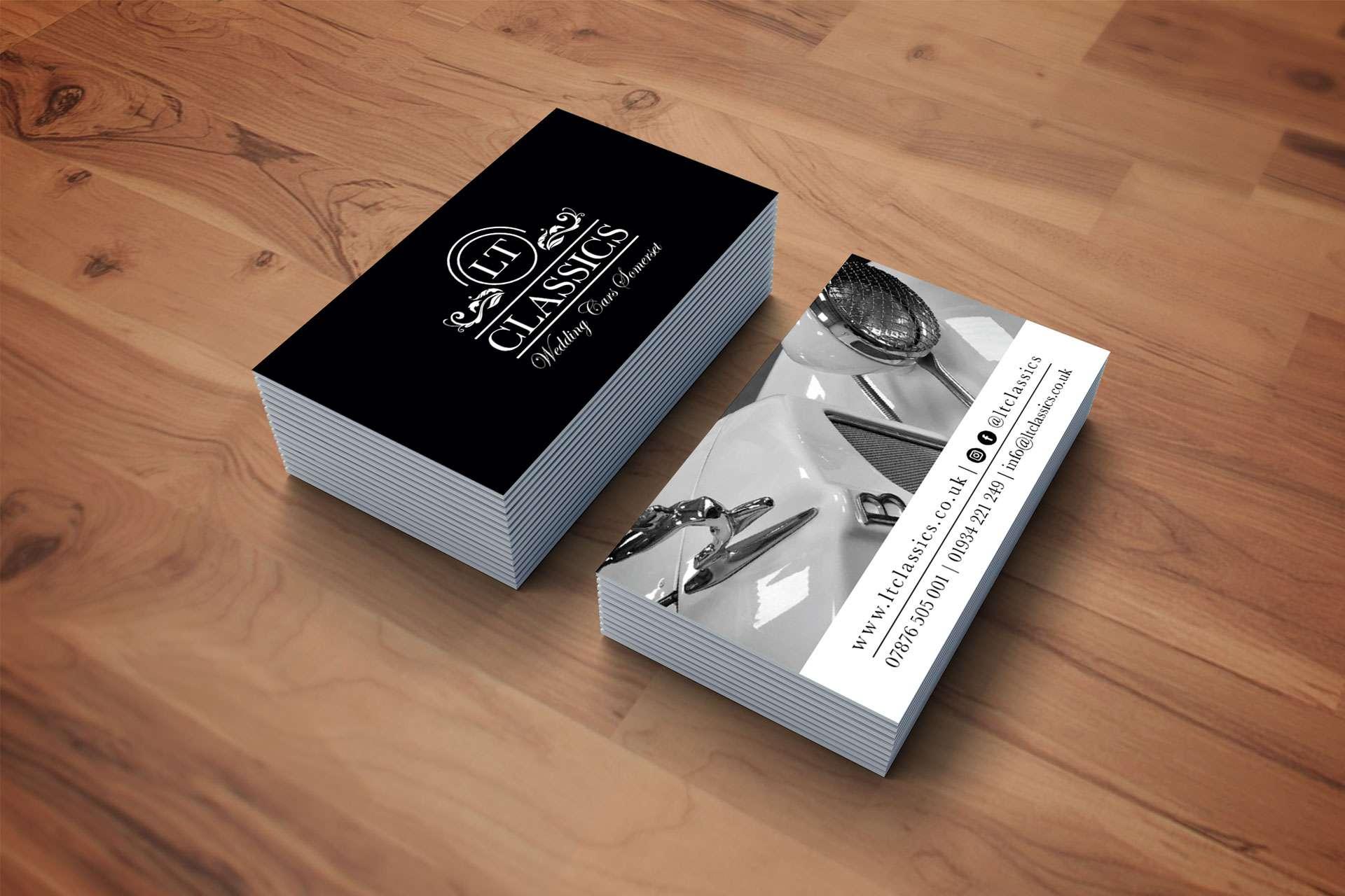 LT Classics - Wedding Cars Somerset Business Card Design