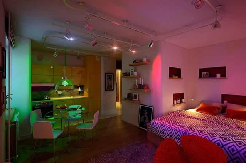 A Small Apartment With Energetic And Vibrant Interior