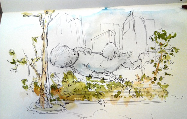 giant-floating-baby-singapore-marina-bay-sands-the-design-sketchbook-watercolour