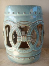 Turquoise Ceramic Garden Stool from Decor & More | via http://www.decorandmore.co.za/torquoise-open-work-stool