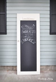 A beautiful salvaged door - now perfect for those inspirational quotes   via http://www.creativelylivingblog.com/2013/01/old-door-to-chalkboard-door.html