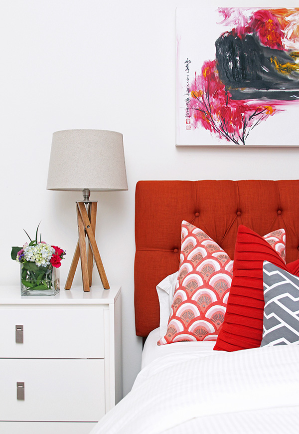 Adore this striking headboard paired with bright white bedding which allows the pillows to pop | via http://blog.westelm.com/2013/07/31/before-after-master-bedroom-by-jana-bek/