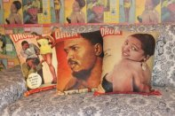 Retro Drum Magazine covers turned cushions via Design Team | http://www.designteamfabrics.co.za/
