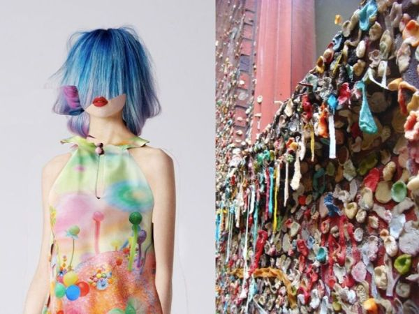 Fashion look from Romance Was Born SS 2014 and a wall of gum in Seattle illustrates the interesting way urban culture and trends can meet | via http://www.pinterest.com/pin/415175659369744617/