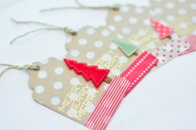 These creative little Christmas gift tags also got the Washi Tape Treatment | http://mayholicraft.wordpress.com/2013/10/25/october-papertrey-blog-hop-christmas-gift-tags/