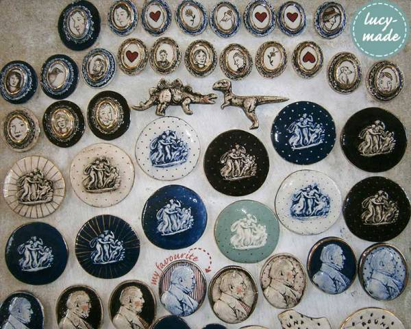 Lucy-Made Ceramic Cameo Brooches | via www.lucystuartclark.com