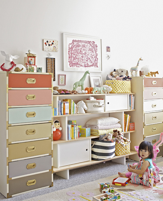 Oh I LOVED this idea from the moment I saw it! Joy Cho from Oh Joy! painted the drawers of (what would otherwise be very serious-looking) military chests in a variety of dusty pastels for her little girl's nursery. | via http://ohjoy.blogs.com/my_weblog/2013/08/better-homes-gardens.html