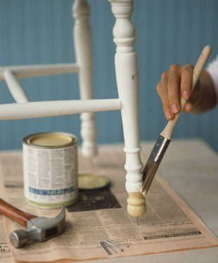 Painting Hack - easily paint achair by tapping a nail into the bottom of the legs
