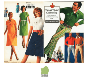 Yellow-green goes in and out of fashion throughout the 60s and 70s, image credit: Pantone